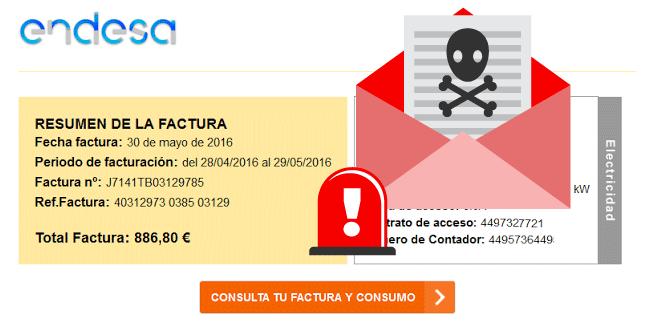 Factura Endesa con virus randsomware