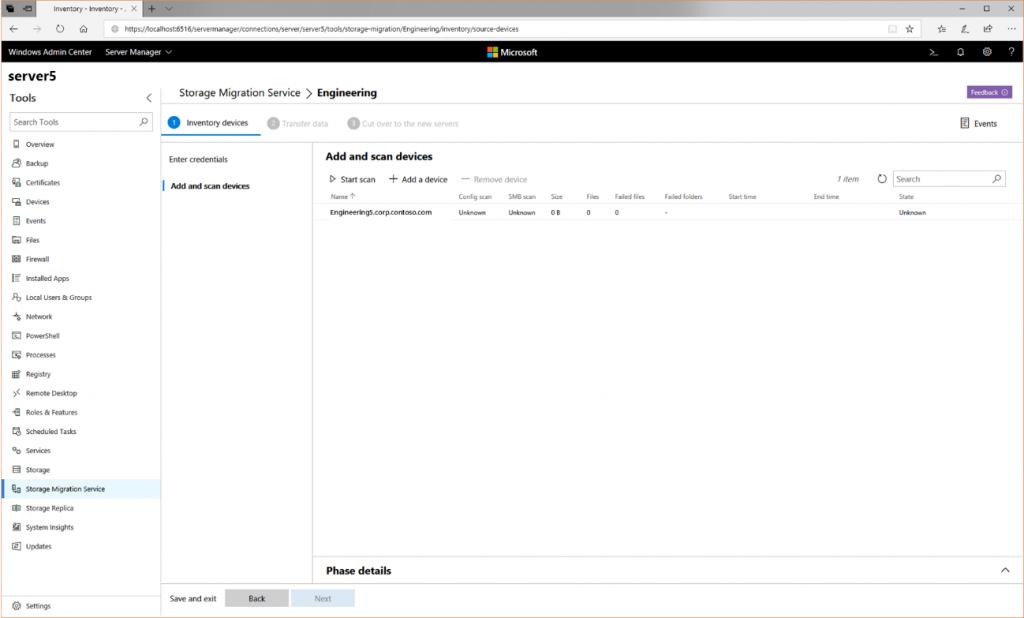 Migración de un servidor de archivos con File Server Migration Service: primer paso